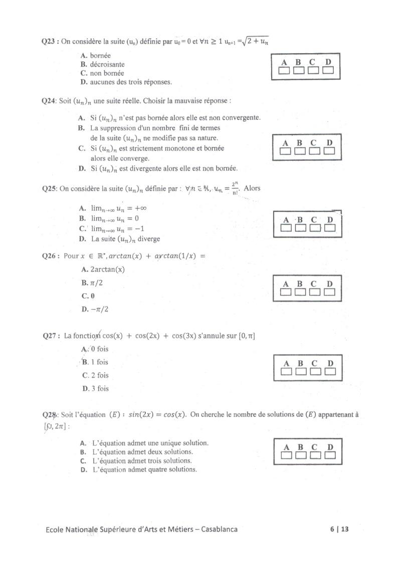 concours de l'ENSAM de Casablanca 2012 (mathématiques): 13730115