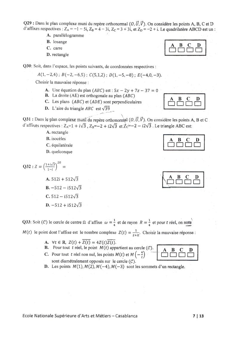concours de l'ENSAM de Casablanca 2012 (mathématiques): 13730116
