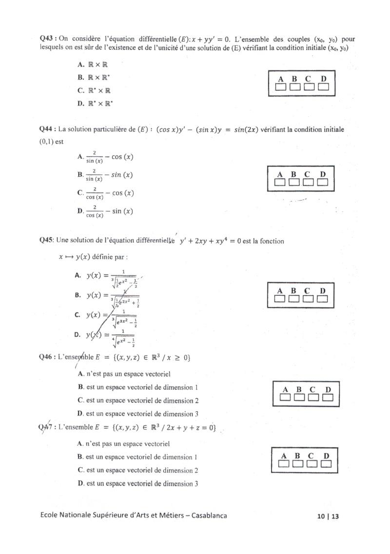 concours de l'ENSAM de Casablanca 2012 (mathématiques): 13730119