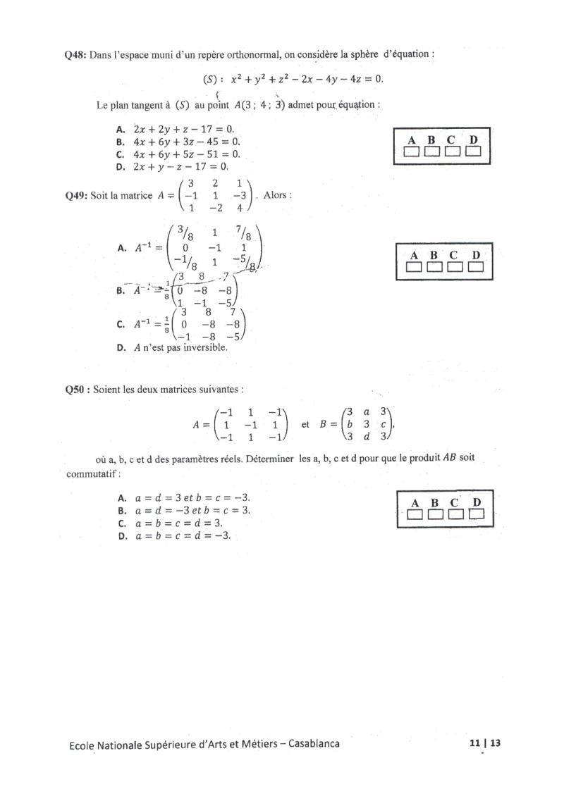 concours de l'ENSAM de Casablanca 2012 (mathématiques): 13730120