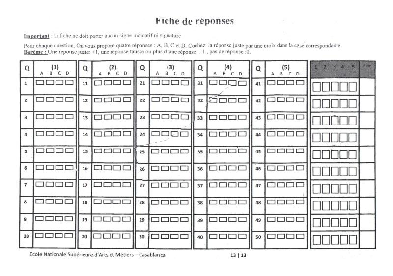 concours de l'ENSAM de Casablanca 2012 (mathématiques): 13730122