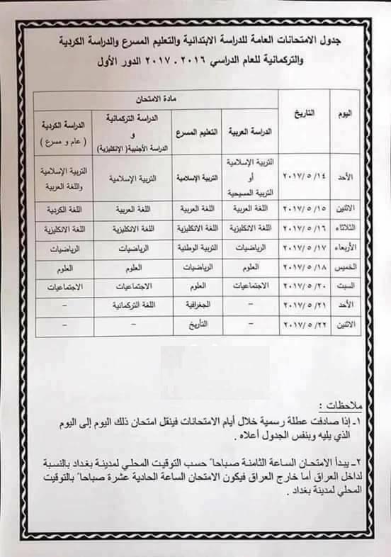 جدول امتحانات العامة للدراسة الابتدائية والتعليم المسرع الدور الاول 2017 Vvvv10