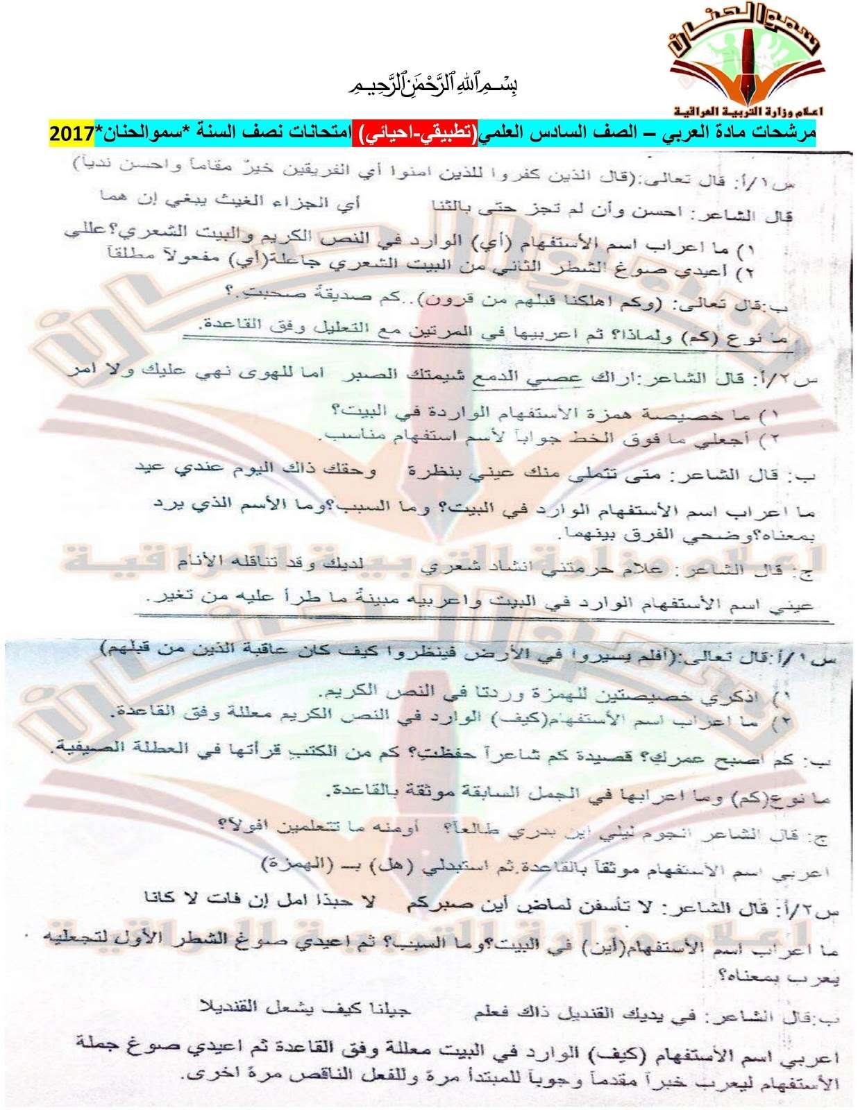 مرشحات مادة العربي للصف السادس الاعدادي 2019 Xx10