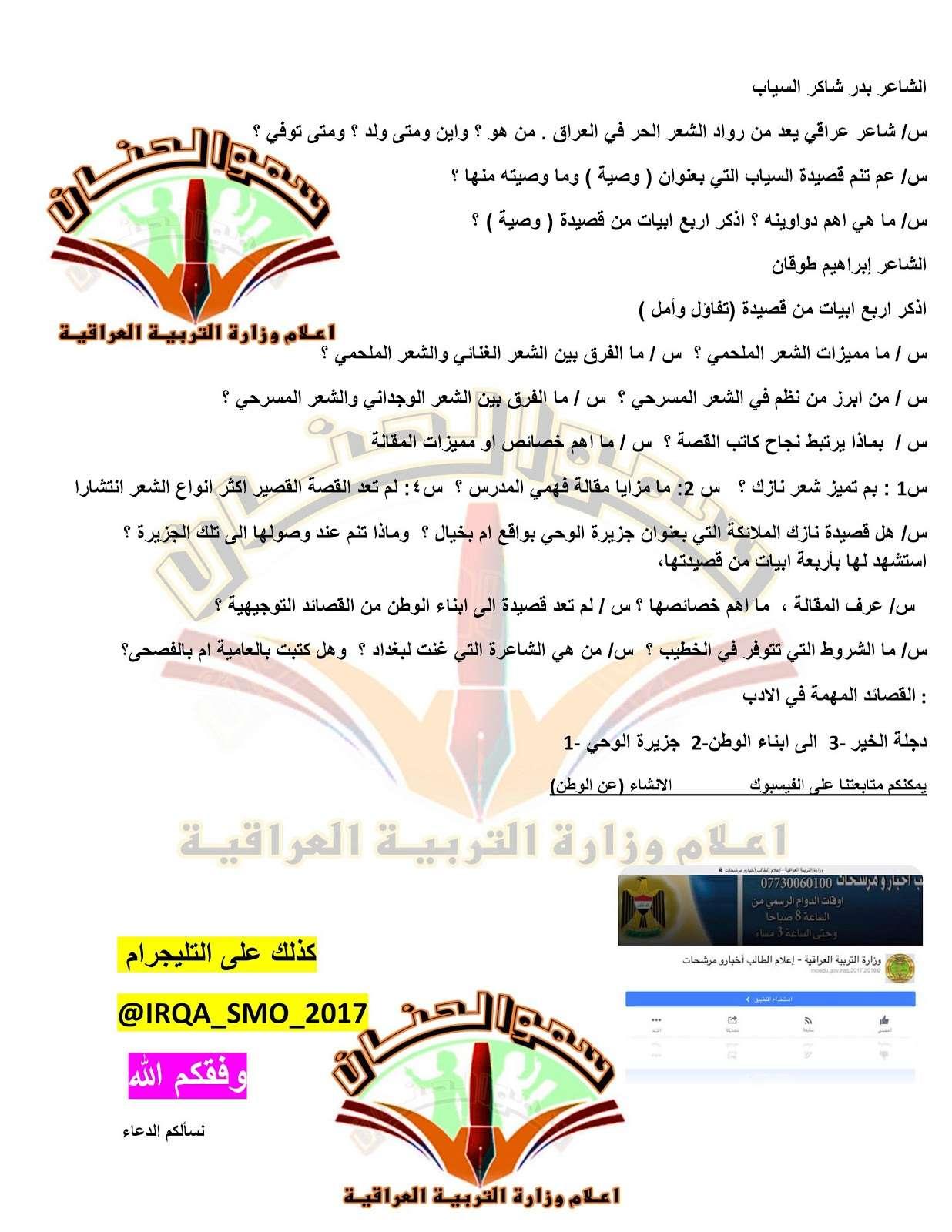 مرشحات مادة العربي  لنصف السنة للصف الثالث متوسط 2019 Zz10