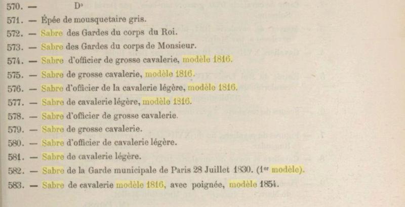 Recensement de tous les modèles de sabres de l'armée française Catalo10