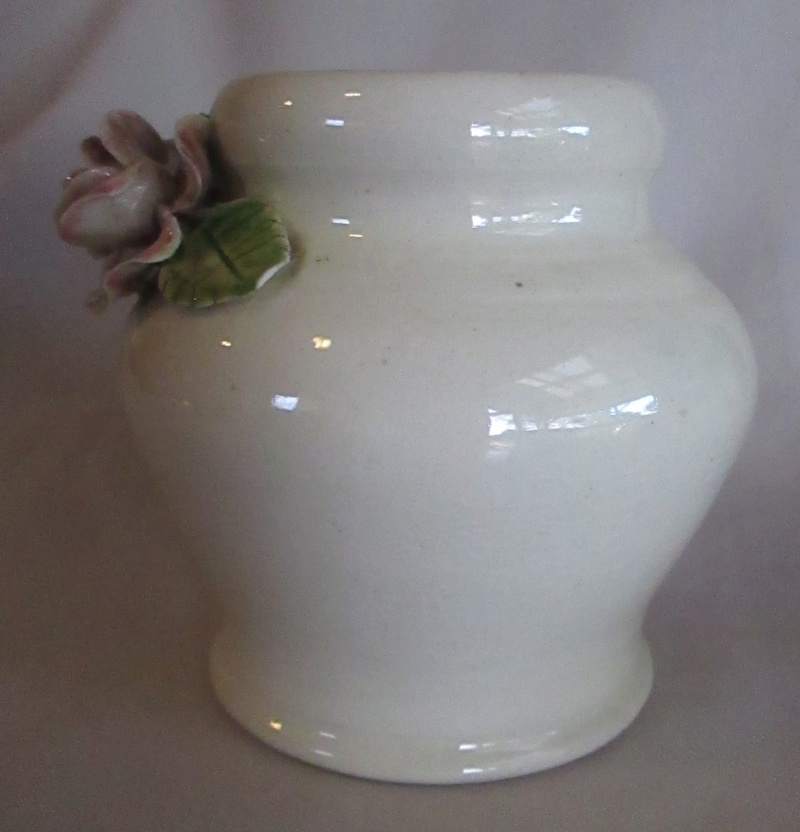 Old Vase with handmade rose & leaves, is this Milton Pottery? Img_5314