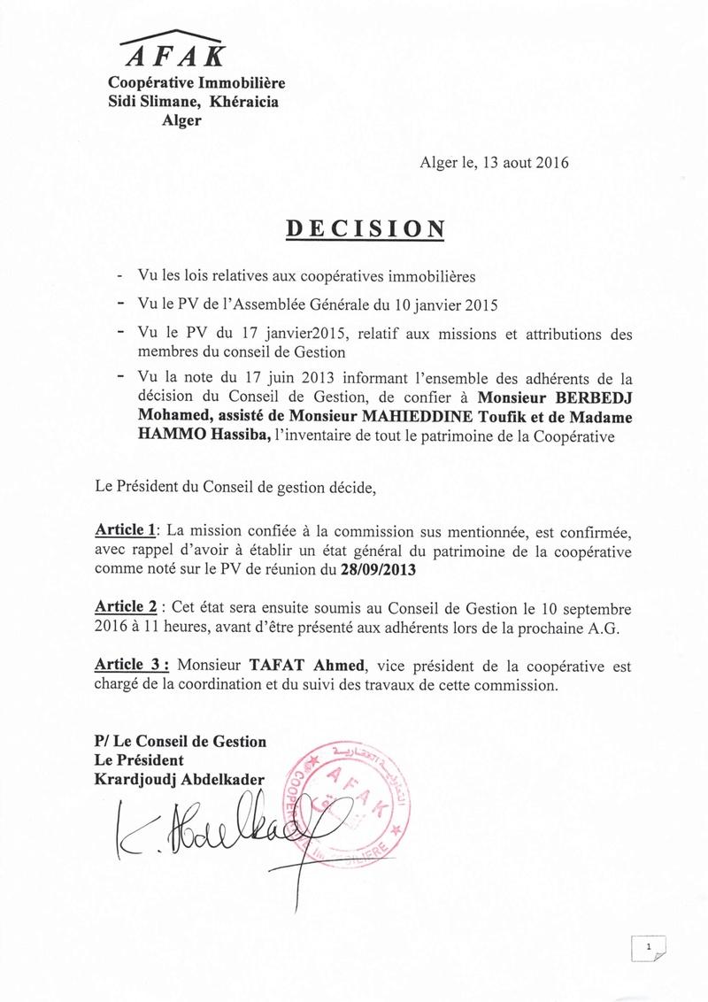 Documents officiels concernant le projet AFAK dans l'ordre chrologique 2016-010