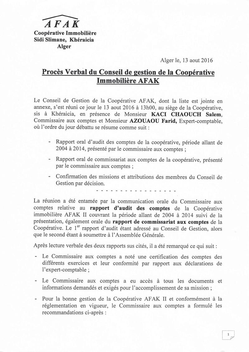 Documents officiels concernant le projet AFAK dans l'ordre chrologique 2016-011