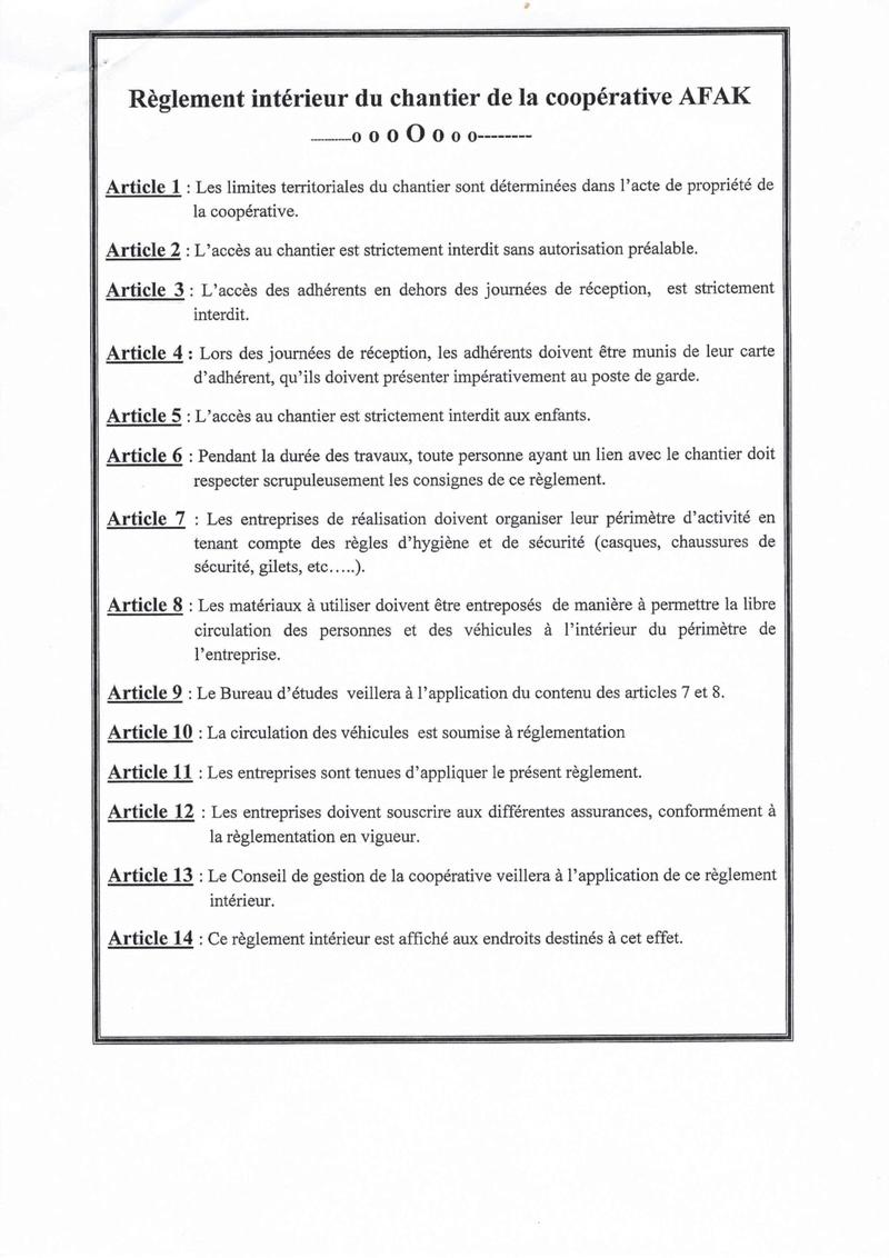 Documents officiels concernant le projet AFAK dans l'ordre chrologique 2016-016