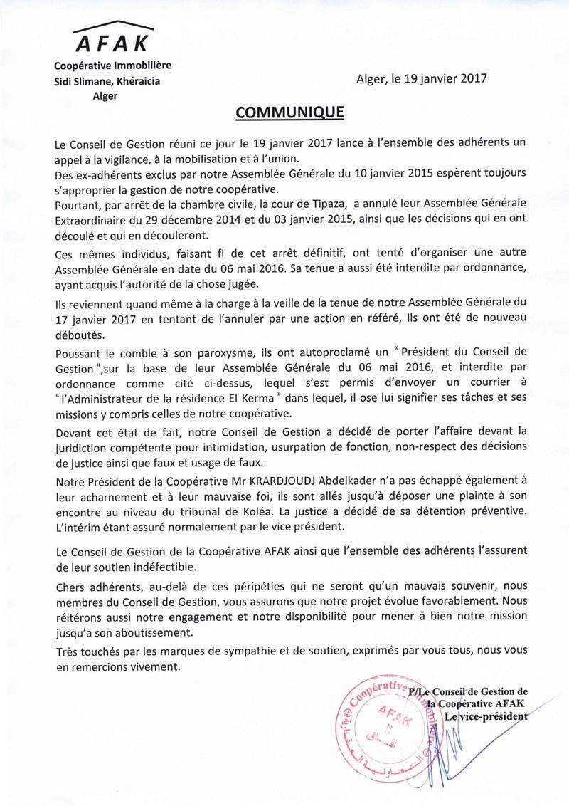 Documents officiels concernant le projet AFAK dans l'ordre chrologique Commun10