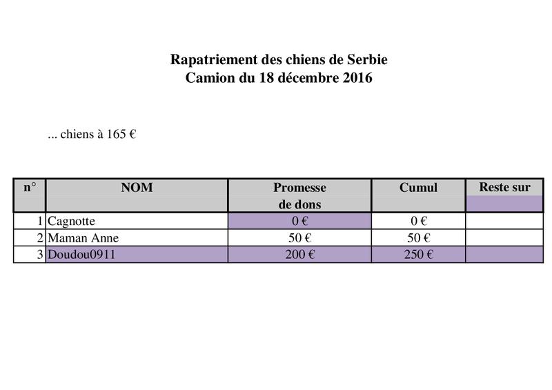 18 DECEMBRE - RAPATRIEMENT PAR CAMION SERBIE - arrivée le 18 décembre 2016 (Bella et Backa) 4000 € nécessaires Camion40