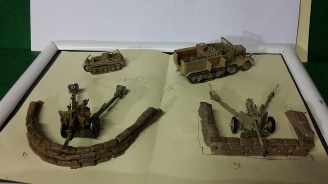 Batterie mixte : obusier FH18 et PAK40  Afrika corps 1942 au 1/72 20170119