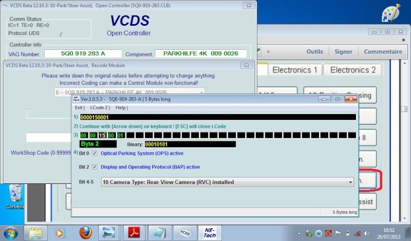 Help soucis d'activation caméra de recul + module dans vcds module 6C Active18