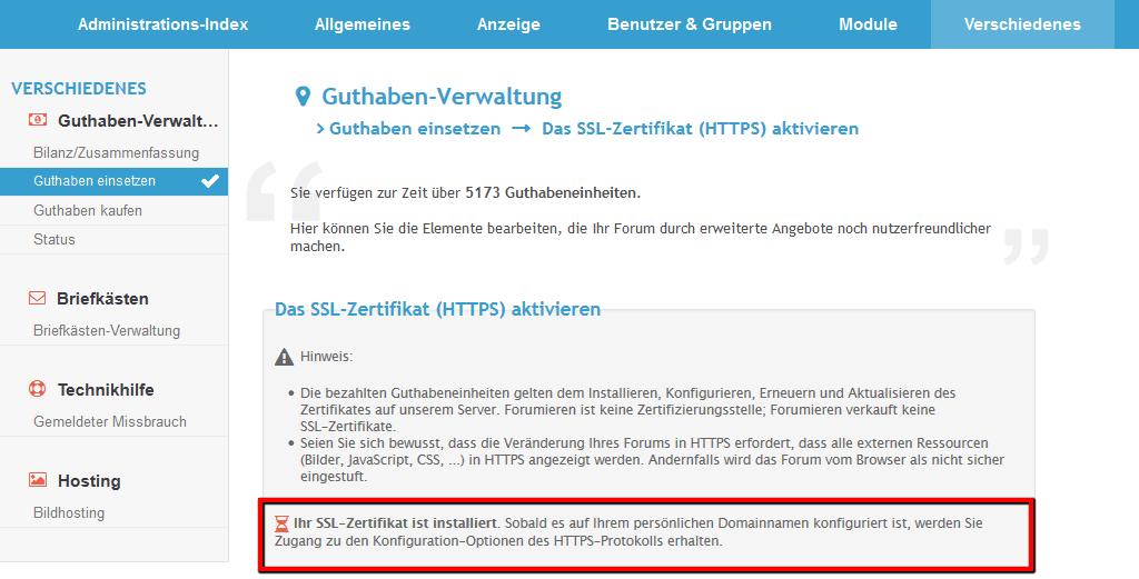 [Update] Verfügbarkeit der SSL-Zertifikate jetzt für alle Forumieren-Foren Ssl-al11