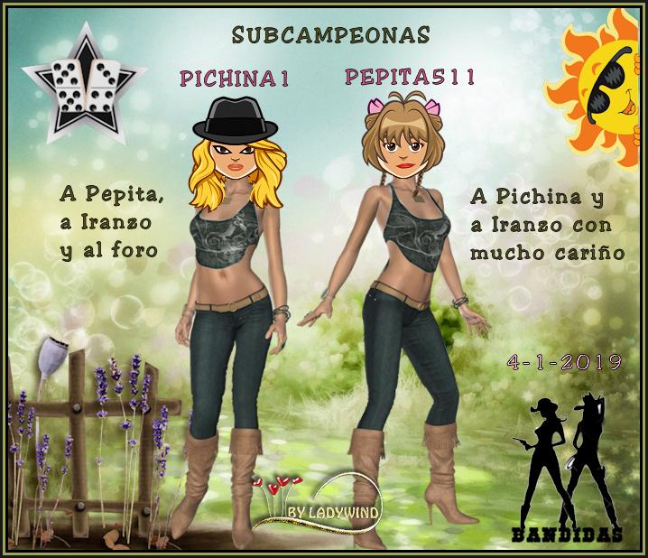 4-1-2019 CAMPEONES ESCARLOTA Y GUAROJOSE - SUBCAMPEONAS PICHINA1 Y PEPITA511 4-1-1910