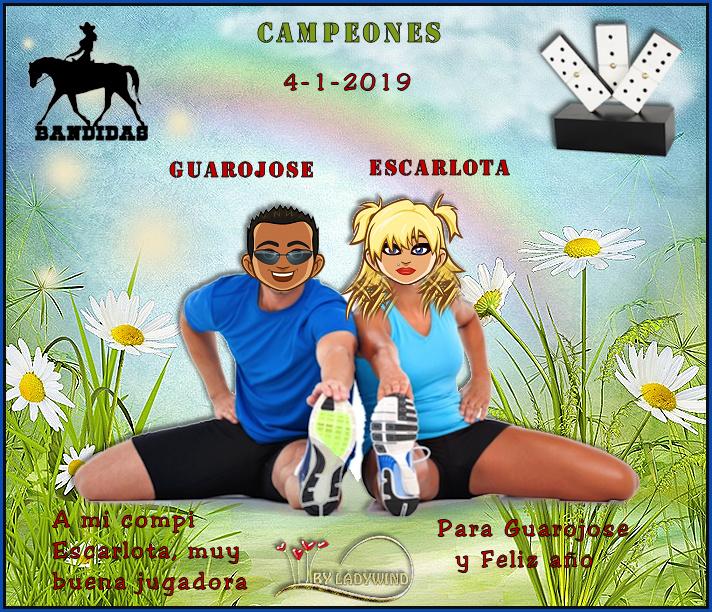 4-1-2019 CAMPEONES ESCARLOTA Y GUAROJOSE - SUBCAMPEONAS PICHINA1 Y PEPITA511 4-1-1911