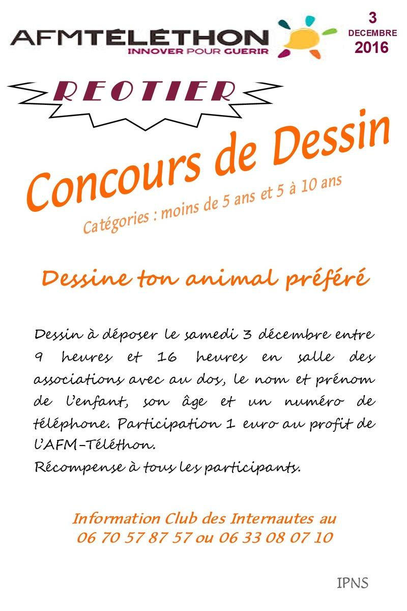 """Téléthon 2016 - Concours de dessin """"Dessine ton animal préféré"""" Affich10"""
