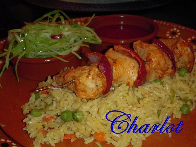 Brochette de poulet aux tomates séchées Riz_3611