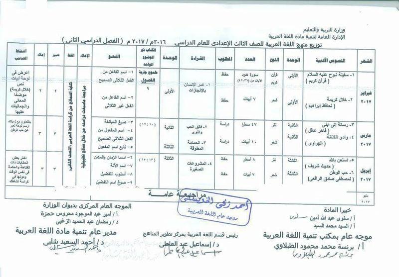 ننشر لكم توزيع منهج اللغة العربية المعدل للصف الثالث الاعدادي ترم ثاني 2020 1251