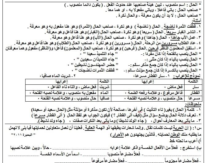 مذكرة النخبة في اللغة العربية للصف السادس الفصل الدراسي الثاني 2017 المعدل 14414