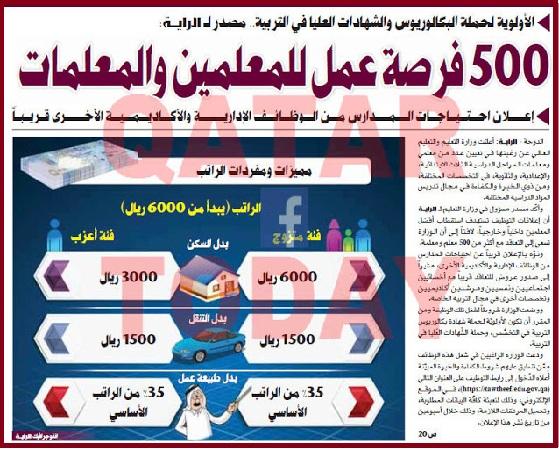 عاجل ...الإعلان عن وظائف شاغرة للمعلمين في مدارس دولة قطر 28 ديسمبر 2016  15741310