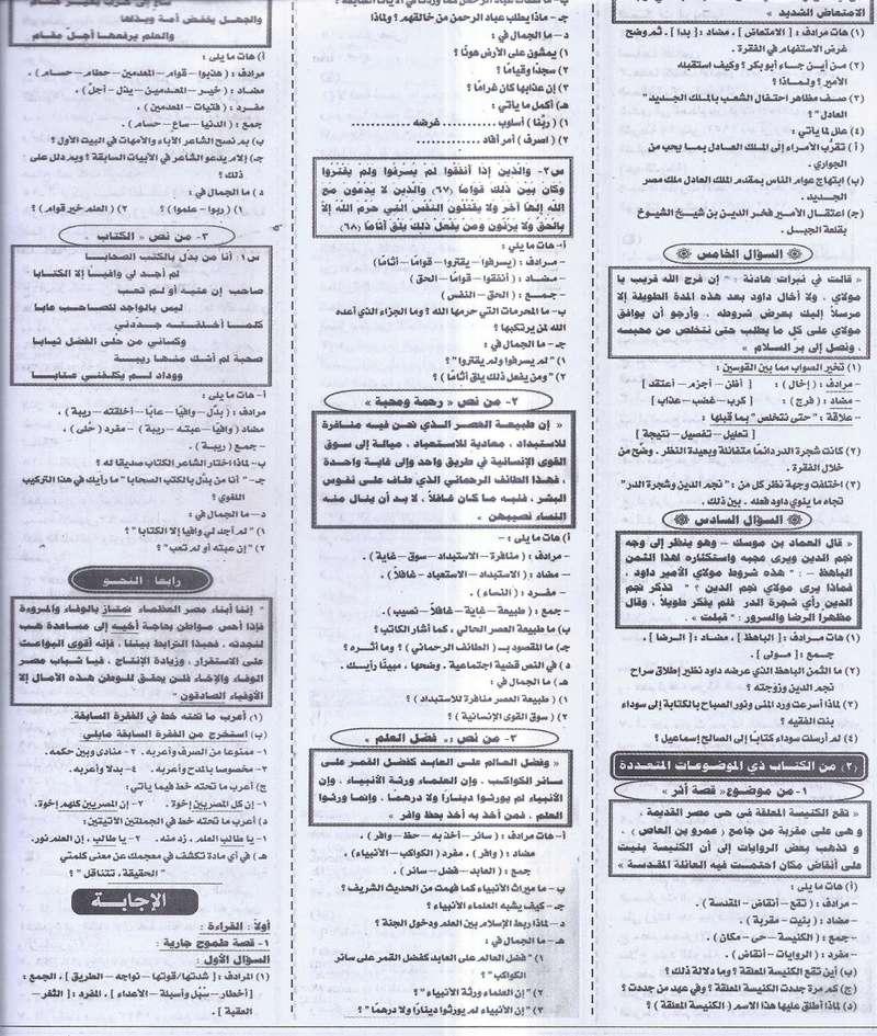 مراجعة لغة عربية اخيرة لامتحان نصف العام للشهادة الاعدادية - ملحق الجمهورية 20/1/2017 2142