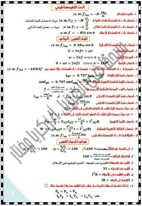 ملخص بسيط - قوانين الفيزياء للصف الثالث الثانوي في 10 ورقات 445