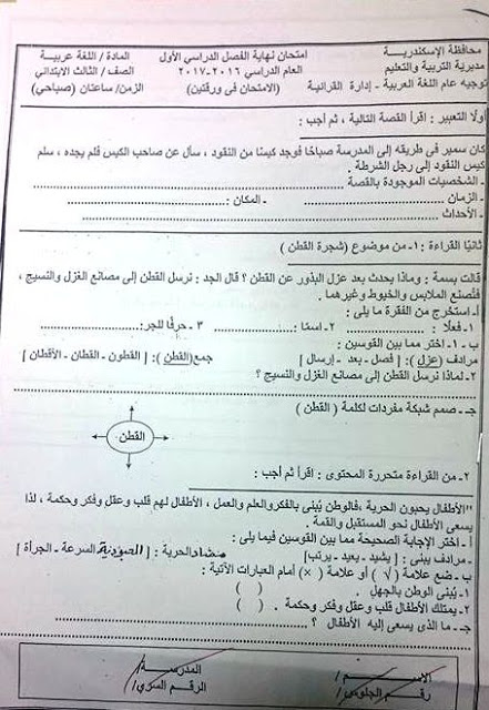 امتحان اللغة للصف الثالث الابتدائي ترم أول 2017 - محافظة الاسكندرية 451