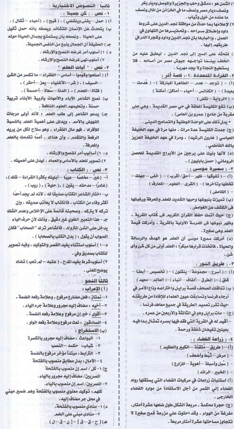 مراجعة لغة عربية اخيرة لامتحان نصف العام للشهادة الاعدادية - ملحق الجمهورية 20/1/2017 488