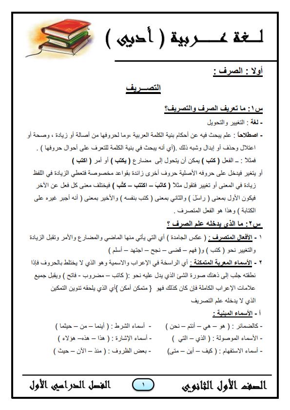 """اقوى مراجعات المواد العربية """"ادبي"""" - الصف الاول الثانوي الازهري س و ج لامتحان نصف العام O_a_a_10"""
