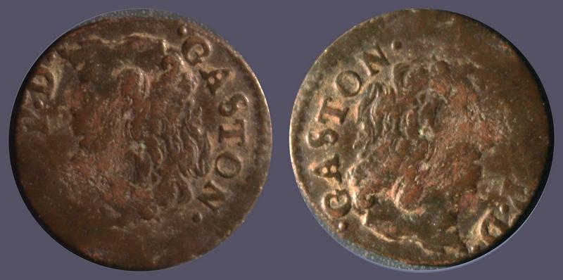 Dombes Gaston Denier Tournois 1651 Tête enfantine à gauche Gaston11