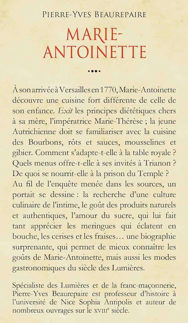 Marie-Antoinette, biographie gastronomique. De Pierre-Yves Beaurepaire 97822212