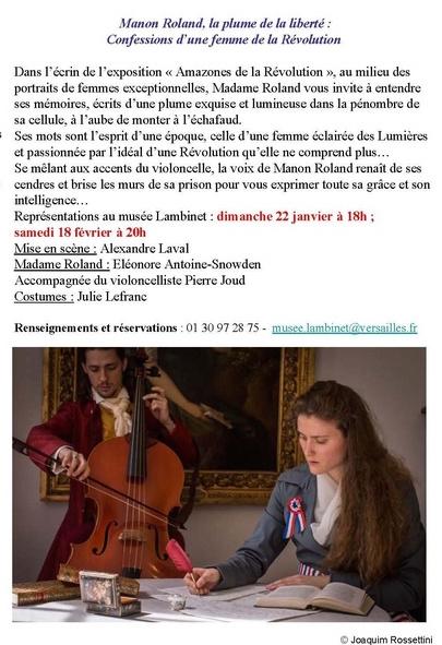 Manon Roland, la plume de la liberté. Représentations au Musée Lambinet Thyytr11