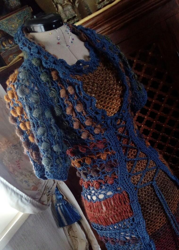 Médiéval 2ème : Costume d'Inspiration Genre Robe-Manteau en Laine et Lin : Crochet et Fourche Crochet  Img_2054