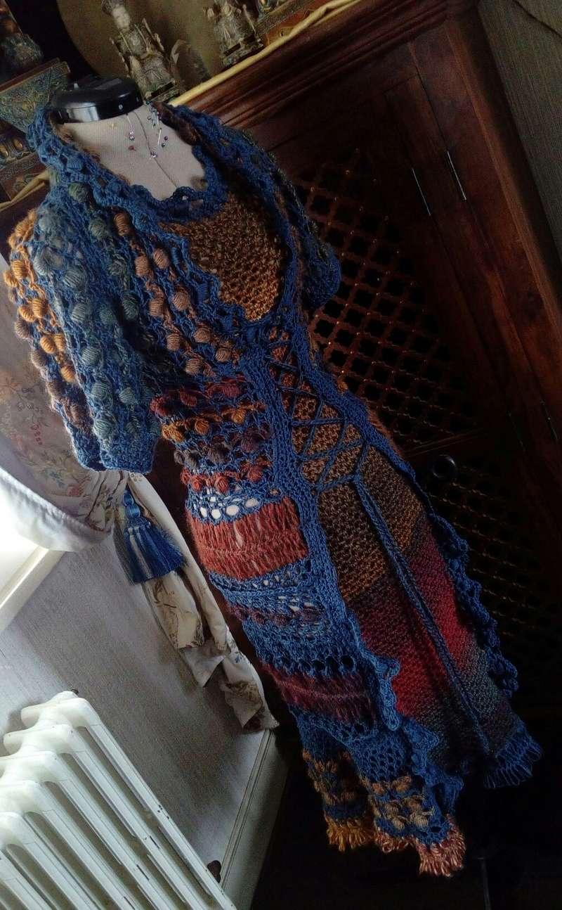 Médiéval 2ème : Costume d'Inspiration Genre Robe-Manteau en Laine et Lin : Crochet et Fourche Crochet  Img_2058