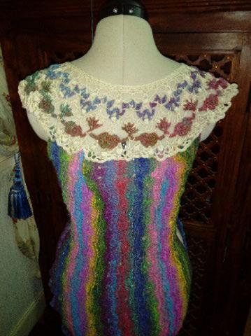 Robe Flammenco au Crochet Laine et Soie , Laine Noro Japonais ! Img_2070