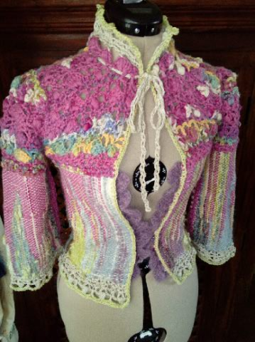 Le TISSAGE : 1ère Petite Veste LAINE & LIN avec partie Crochet  Img_2212
