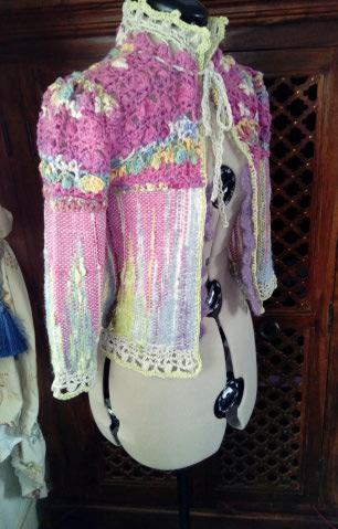 Le TISSAGE : 1ère Petite Veste LAINE & LIN avec partie Crochet  Img_2213