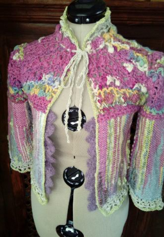 Le TISSAGE : 1ère Petite Veste LAINE & LIN avec partie Crochet  Img_2218