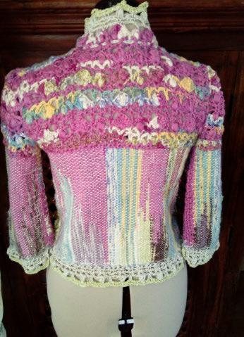 Le TISSAGE : 1ère Petite Veste LAINE & LIN avec partie Crochet  Img_2220
