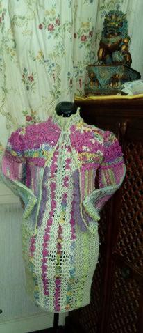 Le TISSAGE : 1ère Petite Veste LAINE & LIN avec partie Crochet  Img_2224