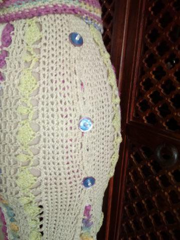 Le TISSAGE : 1ère Petite Veste LAINE & LIN avec partie Crochet  Img_2233