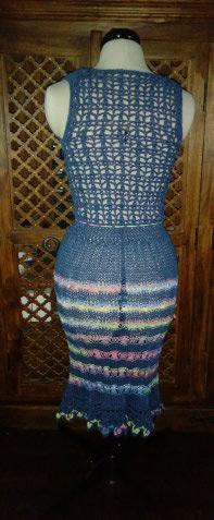 Le TISSAGE : 3ème , Robe au Crochet dentelle en LIN avec Echarpe LIN & LAINE  Img_2258