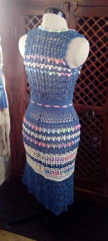 Le TISSAGE : 3ème , Robe au Crochet dentelle en LIN avec Echarpe LIN & LAINE  Img_2260