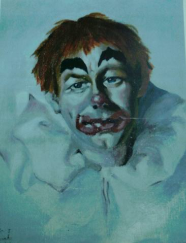POESIE de Anita   :   Mon Clown , portrait à l'huile sur papier 1986 Img_2550
