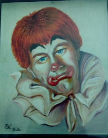 POESIE de Anita   :   Mon Clown , portrait à l'huile sur papier 1986 Img_2551