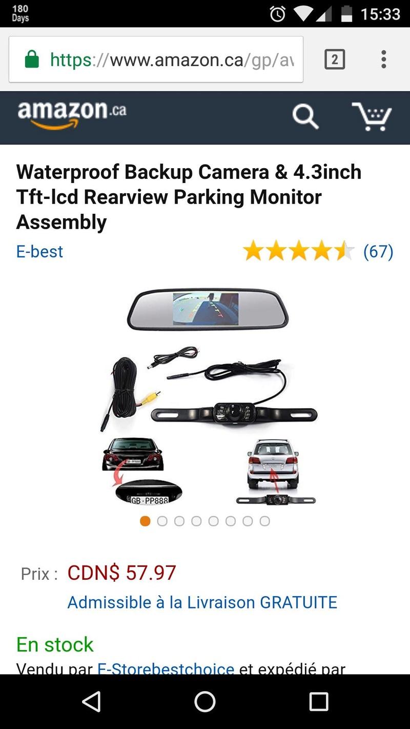 Caméra de recule acheté 15126210
