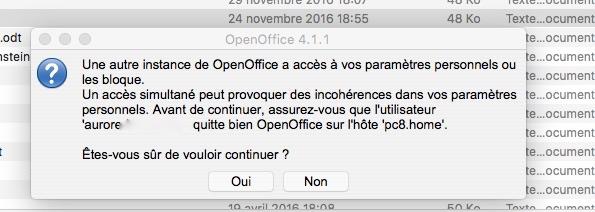"""Open office ne veut plus ouvrir mes comptes rendus car """"une autre instance a accès à vos paramètres blablabla"""" Sans_t12"""