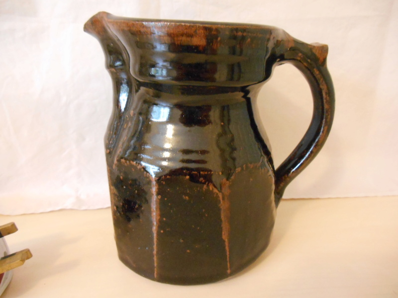 Any thoughts on maker of unmarked Tenmoku Cut Sided Large Jug 17cm please? Dscn0011