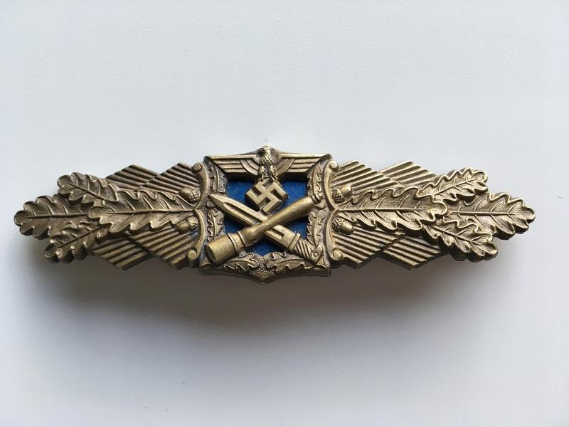 Nahkampfspange bronze AGMuK plaque bleue Img_0033